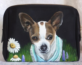 Custom Painted Cosmetic Pouch with YOUR Pet's Portrait