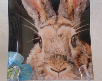 Glass Tray Printed with Rabbit