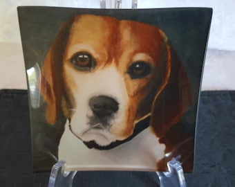 Glass Tray Printed with 'Buddy', the Beagle