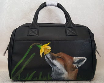 Custom Painted Leather Doctor Bag Style Purse with a hand painted portrait of YOUR Pet