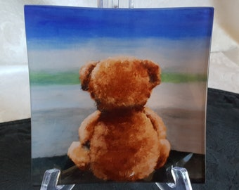 Glass Tray Printed with 'Boog', the Teddy Bear