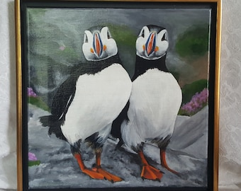 "Irish Collection Original Acrylic Painting of 'Seamus & Siobhan', Puffins.  Framed in a Black and Gold Floater frame 12""x12"""