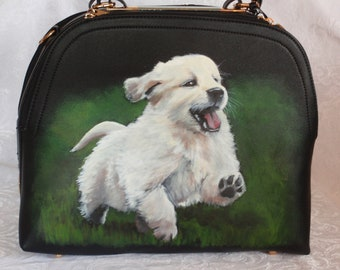 Hand painted Puppy 'Vivian' on Vegan Tote