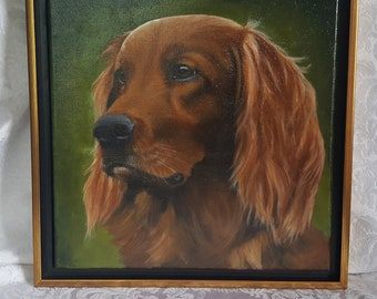 """Irish Collection Original Acrylic Painting of 'Ailin'.  Framed in a Black and Gold Floater frame 12""""x12"""""""