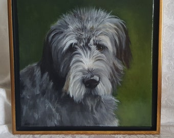"""Irish Collection Original Acrylic Painting of 'Aidan'.  Framed in a Black and Gold Floater frame  12""""x12"""""""