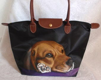 Waterproof foldable painted tote of Levi the Beagle