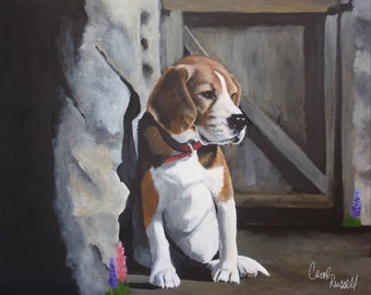"Original Acrylic Painting of 'Louie Baby' the Beagle 16""x20"""
