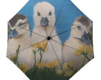 Automatic Folding Umbrella printed with my painting 'Charlie's Angels' the Ducklings