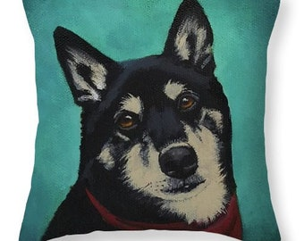 """Custom Throw Pillow of Your Pet with option to buy the original 6""""x6"""" canvas painted to print the art"""