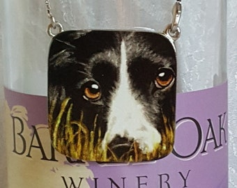 Wine Bottle Charm of 'Madge', a Border Collie and (4) Wine Glass Charms
