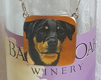 Wine Bottle Charm of 'Myrna' a Rottweiler and (4) Wine Glass Charms