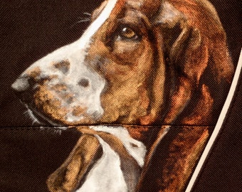 SALE!! Price Reduced!!  Messenger Bag - Hand Painted Portrait of 'Ted' a Basset Hound on bag