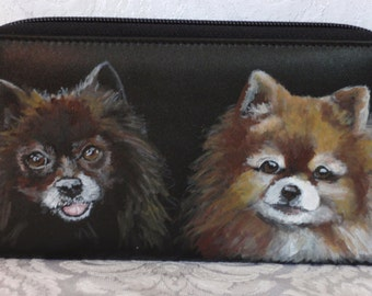 Custom Painted Large Double Zipper Wallet Hand Painted BOTH SIDES