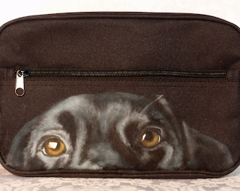Mens Hand Painted Dopp Kit with 'Johnny' a Black Labrador