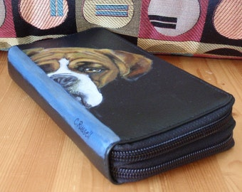 Large Double Zipper Wallet Custom Painted FRONT only with YOUR Pet - Special for Julie Puckett