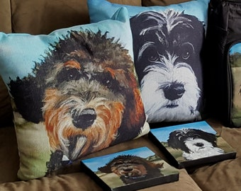 "Custom Throw Pillow of Your Pet with option to buy the original 6""x6"" canvas painted to print the art"