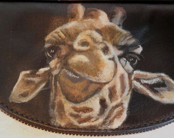 Italian Leather Crossbody Clutch Purse of 'Gina' the Giraffe