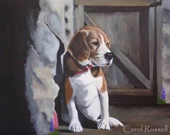 "Original Painting 16""x20"" 'Louie Baby' the Beagle"