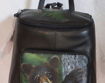 Leather Top Flat Zippered Backpack with a hand painted portrait of YOUR pet.