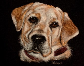 SALE!! Price Reduced!! Backpack - Hand Painted Portrait of Lacey a Yellow Lab- Black Laptop Backpack