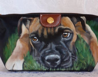 Hand Painted Boxer Cosmetic Bag Portable Travel Makeup Bag