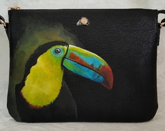 Hand Painted Crossbody Purse /Painted Tucan on a Lauren Conrad Crossbody Purse / Cross body purse/ Faux Leather