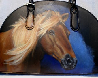 Custom Hand painted portrait of YOUR pet on a Half Moon Vegan Satchel