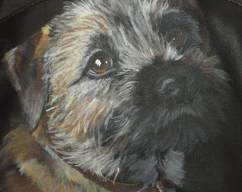 Leather Sling Backpack with a Border Terrier 'Ruby' painted on it