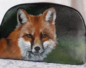 Hand Painted Cosmetic Bag Portable Travel Makeup Bag of 'Memphis' a Red Fox