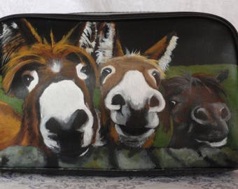 Custom Painted Men's Dopp Kit Vegan Leather Hand Painted with YOUR Pet's Portrait