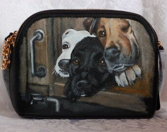Custom Painted Vegan Crossbody Purse with YOUR Pet's Portrait