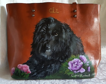 Custom Painted Portrait of Your Pet on Bag Provided by Client