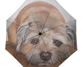 Folding Umbrella printed with my painting 'Danny' the Border Terrier mix