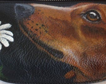 Vicenzo leather hand painted 'Barney' the Dachshund Waistbag Hip Bag Fanny Pack