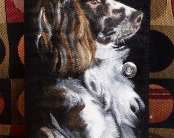 Hand Painted Tango Clutch 'Rosie' a English Springer Spaniel