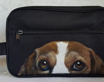 Hand Painted Mens Toiletry Bag- Dopp Kit - Travel Bag with Louie the Beagle