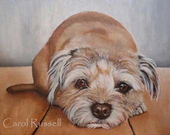"Original Acrylic Painting of 'Danny' a Border Terrier mix 16""x 20"""