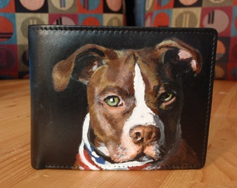 Custom Painted Bi-fold Leather Wallet with Card Slots and coin pouch