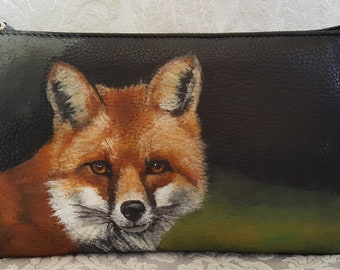 Baguette Clutch Convertible Wristlet Leather Hand Painted Max the fox