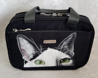Custom Painted Hanging Travel Kit -  Hanging Toiletry Bag - Cosmetic Travel Kit - Hand painted Toiletry Travel Bag with YOUR Pet's Portrait