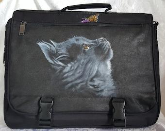Custom Painted Briefcase Messenger Bag with YOUR Pet's Portrait