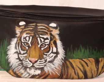 Custom Painted Vegan Faux-Leather Bum Pack aka Hip Bag