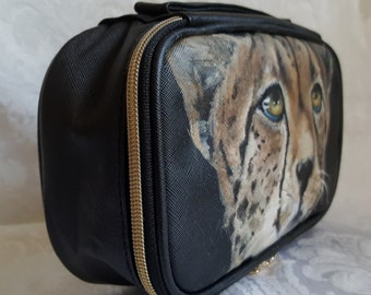 Custom Painted Cosmetic Bag Organized Bag Makeup Bag Travel Pouch