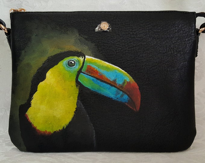 Featured listing image: Hand Painted Crossbody Purse /Painted Tucan on a Lauren Conrad Crossbody Purse / Cross body purse/ Faux Leather