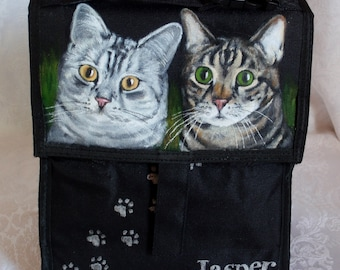 Custom Hand painted Freezable Lunch Bag with YOUR Pet's Portrait