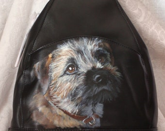Custom Painted Leather Sling Backpack with YOUR Pet Portrait on it