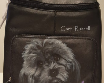 Custom Painted Leather Top Flat Zippered Backpack with a hand painted portrait of YOUR pet.