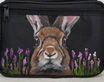 Hand painted nylon fanny pack - Hip bag - bum bag - belt bag painted portrait of Lucille the rabbit