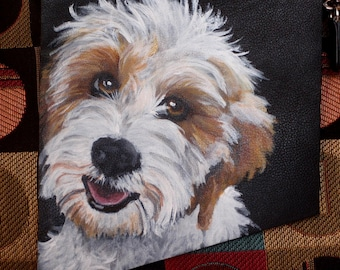Leather Crossbody Purse Painted with YOUR Pet's portrait