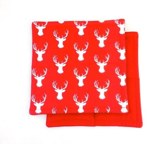 ee4ad10b0 50% off Red Reindeer Christmas Potholder Set Set of 2   Etsy